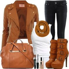 Stylish Brown Jacket, White Blouse, Black Pants, Amazing Scarf, High Heel Warm Boots and Handbag with Accessories