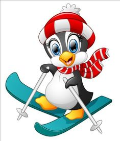 Penguin cartoon skiing vector image on VectorStock Penguin Clipart, Penguin Cartoon, Penguin Art, Cute Clipart, Christmas Yard Art, Christmas Wood, Christmas Pictures, Penguins And Polar Bears, Cute Penguins