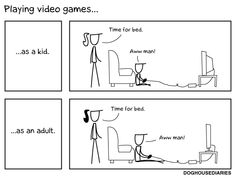 Playing Video Games: As a Kid vs. As an Adult [Comic]