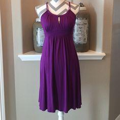 "Ella Moss Halter Dress Beautiful purple Ella Moss Halter dress with beautiful back! Style#EDRB6228. Bust measures 15"" across laying flat, 35"" shoulder to hem or 23"" from empire waist to hem. 95%rayon & 5% spandex, Dry Clean only. NWOT Ella Moss Dresses"