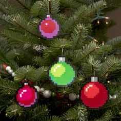Decorate the Christmas tree with these 8-bit pixelated ornaments. Each one of these hand made ornament sets includes four 8-bit pixel art Christmas baubles...