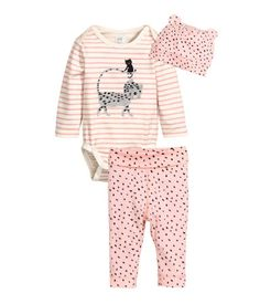 Check this out! CONSCIOUS. Set with bodysuit, leggings, and hat in organic cotton jersey. Long-sleeved bodysuit with snap fasteners at gusset. Leggings with wide foldover ribbing at waist. - Visit hm.com to see more.