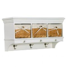 Sofia Hall Wall Coat Rack With Hooks & Basket Drawers