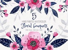 Watercolor pink and blue floral bouquets clipart