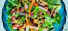 Varm salat med bakte gulrøtter og druer   Lises blogg