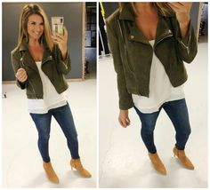 Outfits To Wear Right Now [Work, Casual, Events] - Living in Yellow High Jeans, High Waist Jeans, Living In Yellow, Cuffed Skinny Jeans, Wide Leg Cropped Pants, Denim Leggings, Suede Jacket, Faux Wrap Dress, Work Casual