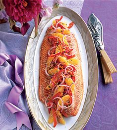Salmon with Sesame/Orange relish #healthy
