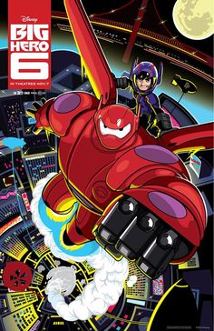 Super Hiro Hamada and Baymax 2.0 in comic book style of Big Hero 6