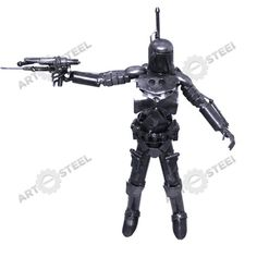This Jango Fett is made of hand-shaped steel plates, nuts and bolts, ball bearings, screws and steel rollers.  $99.99