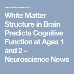 White Matter Structure in Brain Predicts Cognitive Function at Ages 1 and 2 – Neuroscience News