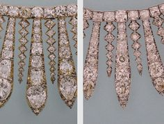 The Hanover Fringe Tiara was originally Queen Adelaide's necklace. Comparing Queen Adelaide's necklace / tiara (left) and the City of London necklace (right)  given to Princess Elizabeth for her wedding in 1947, note the graduated spikes flanking the  center bar of Queen Adelaide's necklace/Hanover fringe tiara contains 9 brilliants, while the spikes of QEII's necklace contains 7 stones. QE II wears the London necklace in her official New Zealand portrait.