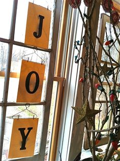 JOY banner on hangers with mini cloth pins