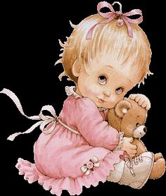 Little girl and bear, Ruth Morehead Gif Mignon, Cute Gifs, Cute Good Morning Quotes, Greeting Card Companies, Book Of Poems, Young Animal, My Teddy Bear, Glitter Graphics, All Things Cute