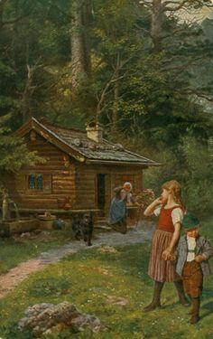 Hänsel und Gretel vor dem Hexenhäuschen, gemalt von Paul Wagner, Galerie Münchner Meister