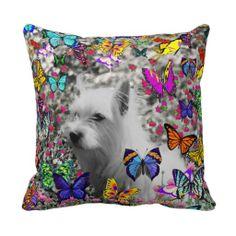 Violet in Butterflies %u2013 White Westie Dog Throw Pillows $32.95