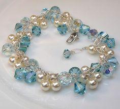 Pearl Bracelet, Aquamarine Crystals, Swarovski, Bridal, Handmade Weddings Jewelry, Spring Fashion, March Birthday: