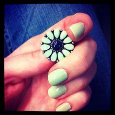 Found the perfect mint green nail polish to match my earrings: OPI Gargantuan Green Grape