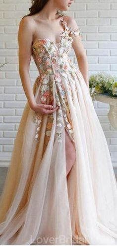 one shoulder prom dress appliques party dress strapless evening dress – shuiruyan Tulle Prom Dress, Cheap Prom Dresses, Prom Party Dresses, Ball Dresses, Lace Dress, Floral Prom Dress Long, Fairy Prom Dress, Chiffon Dresses, Chic Dress