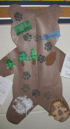 """Going on a Bear Hunt"" Map--using a pawprint stamp and various different textures for the different spots= sensory. Animal Activities, Literacy Activities, Preschool Literacy, Preschool Lessons, Winter Activities, Preschool Crafts, Crafts For Kids, Preschool Ideas, Bear Theme"