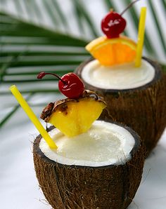 Pina Colada / 8 Cocktails You Can Drink Out of Fruits via @PureWow