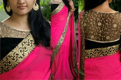 This Beautiful Traditional sari gives a perfect look to the outfit. This sari is an ideal for Party,cocktail and social gathering. Sari comes along with matching fabric un-stitched blouse piece. Saree Blouse Patterns, Sari Blouse Designs, Skirt Patterns, Coat Patterns, Sewing Patterns, Saree Styles, Blouse Styles, Dress Styles, Patiala Salwar