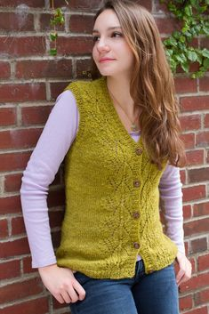 Ravelry: Climbing Ivy Vest pattern by Cheryl Chow, Knit lace vest with buttons and v-neck.