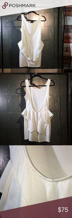 Soft White Peplum-Style Dress Backstage • Made in Australia • S (can fit M) • Soft w/ stretch • Used on TV set. Has a couple makeup marks that will wash out prior to mailing. Please give me an extra day to do this for you! 💛 Backstage Dresses Mini