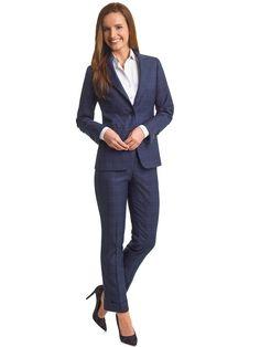 WOMEN'S CUSTOM SUIT                                                                                                                                                                                                                                       , Super 100's Wool Mid Blue Plaid
