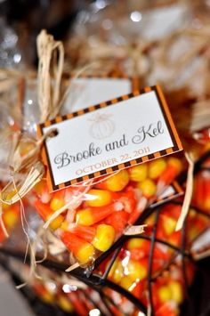 fall bridal shower ideas | Sandy wedding shower ideas / favors...candy corn for fall?