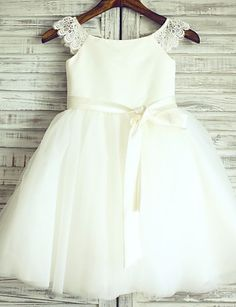 Princess Ivory Knee-length Flower Girl Dress - Lace/Tulle Cap Sleeve 2016 - $69.99