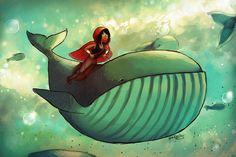 Whale Ride fantasy illustration