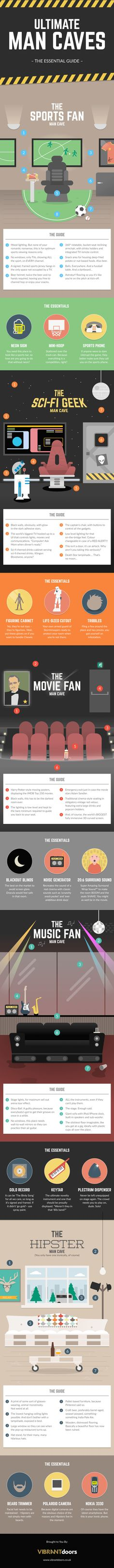Ultimate Man Caves, The Essential Guide  [by VIBRANTdoors -- via #tipsographic]. More at tipsographic.com