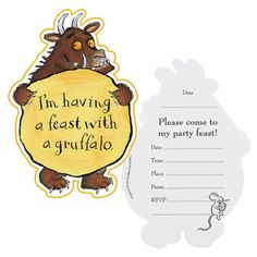 Gruffalo Party Invitations cards, pack of with envelopes. We have more Gruffalo party items and tableware available in our online shop. 10th Birthday Parties, Birthday Party Decorations, Boy Birthday, Themed Parties, Birthday Cakes, Gruffalo Party, The Gruffalo, Invitation Card Birthday, Invitation Cards