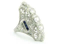 1920s 1.3 Carat Duchess Style Diamond and Sapphire Ring in Platinum #jewelry #vintage