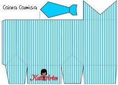 KATIA ARTES - BLOG DE LETRAS PERSONALIZADAS E ALGUMAS COISINHAS: Caixa - Camisa Pai 1 Printable Box, Free Printables, Box Patterns, Print Patterns, Paper Tea Cups, Gift Wrapping Tutorial, Paper Box Template, Fathers Day Crafts, Blogger Templates