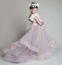 Bella Nuova Tulle Arruffato Fiori Fatti A Mano, Una Spalla Fiore Ragazze, Abiti Da Ragazza Del Pageant Dresses All'ingrosso