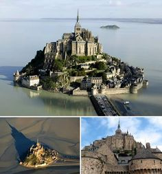 This is Mont St. Michel in Normandy, France. It is a one of a kind example of architecture that features both Romanesque and Gothic architecture, most of it is Romanesque. The Abby at the top of the island is mostly Gothic inside. Would love to visit and experience it's wonderful architecture.