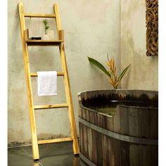 HaussmannTeak Towel Ladder 18 x 64 in H with Adjustable Shelf Teak Oil