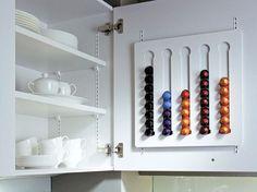 SieMatic Modern Kitchen Design - On Wall Espresso Rack System Storage Accessories Kitchen Organisation, Organization Hacks, Kitchen Storage, Storage Spaces, Dosette Nespresso, Küchen Design, House Design, Garden Design, Design Ideas