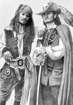 "- Johnny Depp and Orlando Bloom as Captain Jack Sparrow and Will Turner respectively from ""Pirates of the Caribbean"" Portrait Au Crayon, Pencil Portrait, Captain Jack Sparrow, Pirate Art, Pirate Life, Will Turner, Jack Sparrow Drawing, Pencil Drawings, Art Drawings"