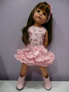 PIXIES : GOTZ HANNAH/DESIGNA FRIEND/AGD.  pink frilly dress/Alice band HAND MADE