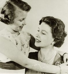 A tender image of Princess Royal, Anne, with her mother, Queen Elizabeth II. Early 60s.