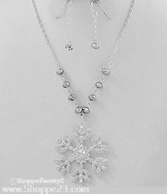 "Silver Snowflake Necklace Set 16-19"" Winter Wedding Bridal Party Jewelry Boxed  $19  Free USA Shipping"