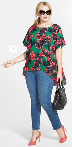 Vince Camuto Batik Floral High Low Blouse