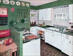 #1954 Green & White #Kitchen