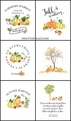 Fall Watercolor Printables | Free DIY Wall Art: Use for seasonal decor, crafts, fall banners, cards, screensavers & more. Easy to download and print. #freeprintable #falldecor
