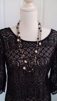 H&M Boho Black Sheer Lace Short Mini Dress Women's Size M AND Retro Necklace #HM