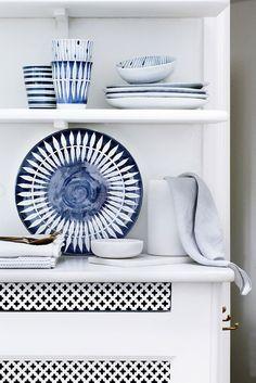 Blue ceramic accents