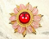 Heavy Pink Beaded Sun Brooch with Red Glass Cabochon / Pendant / Vintage