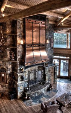 inspiring and luxury rustic home design 4 > Fieltro.Net 40 Inspiring And Luxury Rustic Home Design > Fieltro. Cabin Fireplace, Fireplace Garden, Fireplace Ideas, Rustic Home Design, Rustic Home Interiors, Log Cabin Homes, Log Cabins, Cabins In The Woods, My Dream Home